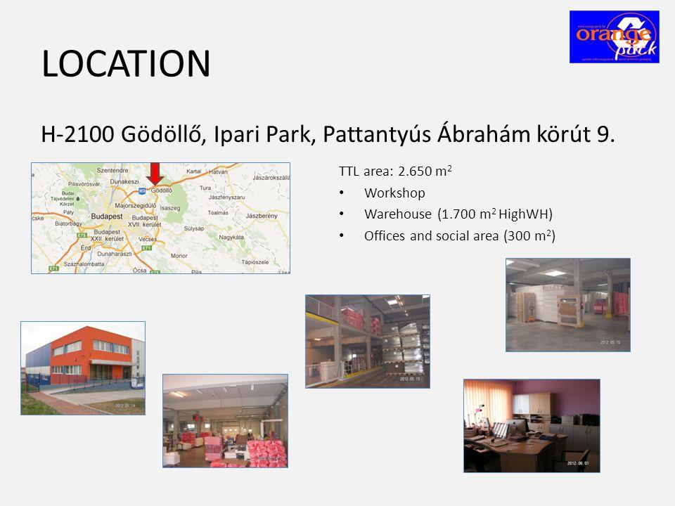 LOCATION H-2100 Gödöllő, Ipari Park, Pattantyús Ábrahám körút 9. TTL area: 2.650 m 2 • Workshop • Warehouse (1.700 m 2 HighWH) • Offices and social ar