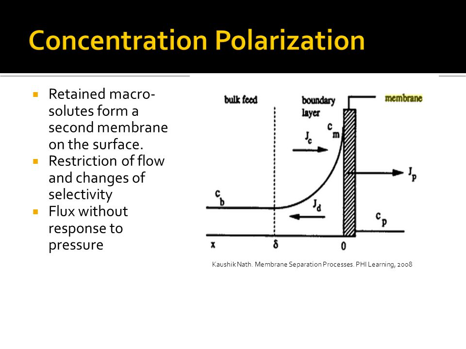 Major concern – flux decrease  Changes membrane properties  Fouling and concentration polarization additive resistance  Fouling prevention is very important  selection of membrane  operating conditions  feed pretreatment  start-up techniques  cleaning type and frequency  Interesting competition between:  stable hydrophobic membranes  less fouling hydrophilic membranes