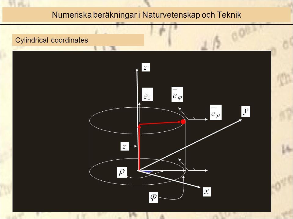 Cylindrical coordinates Numeriska beräkningar i Naturvetenskap och Teknik