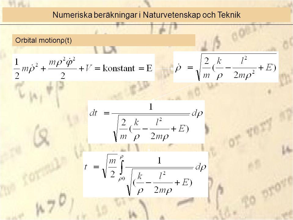 Orbital motionρ(t) Numeriska beräkningar i Naturvetenskap och Teknik