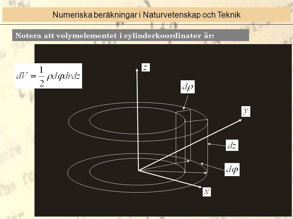 Notera att volymelementet i cylinderkoordinater är: Numeriska beräkningar i Naturvetenskap och Teknik