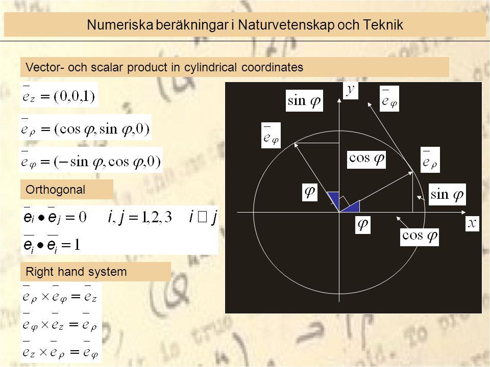 Vector- och scalar product in cylindrical coordinates Orthogonal Right hand system Numeriska beräkningar i Naturvetenskap och Teknik