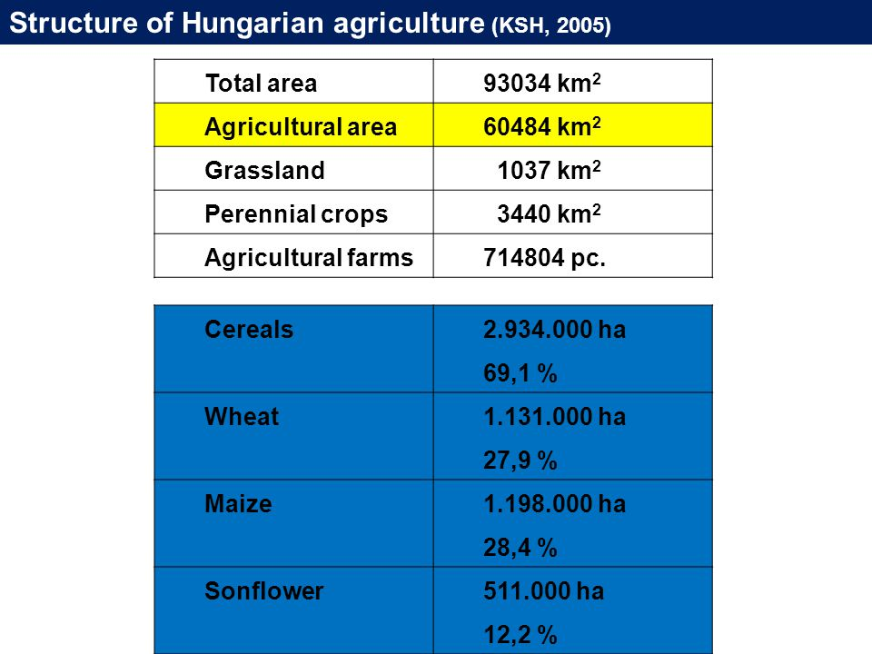 Structure of Hungarian agriculture (KSH, 2005) Total area93034 km 2 Agricultural area60484 km 2 Grassland 1037 km 2 Perennial crops 3440 km 2 Agricultural farms714804 pc.