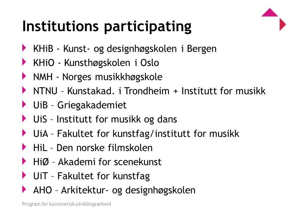 0 Program for kunstnerisk utviklingsarbeid Institutions participating KHiB - Kunst- og designhøgskolen i Bergen KHiO - Kunsthøgskolen i Oslo NMH - Norges musikkhøgskole NTNU – Kunstakad.
