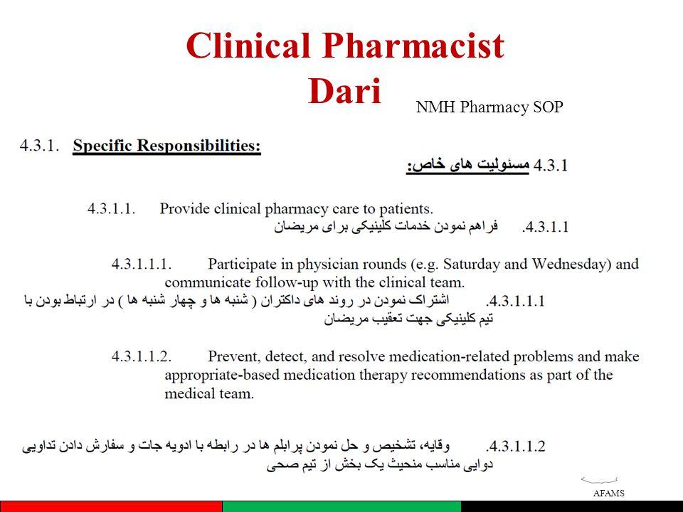 AFAMS Clinical Pharmacist Dari NMH Pharmacy SOP