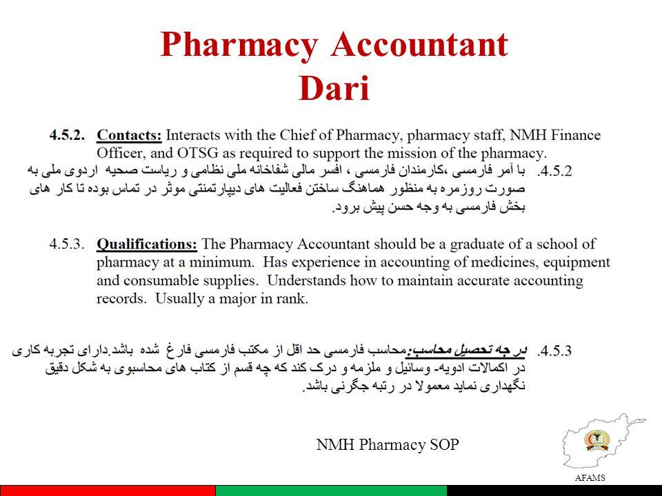 AFAMS Pharmacy Accountant Dari NMH Pharmacy SOP
