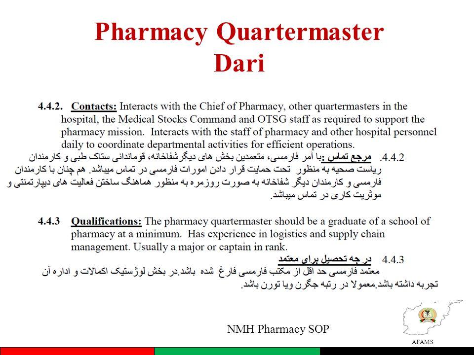 AFAMS Pharmacy Quartermaster Dari NMH Pharmacy SOP