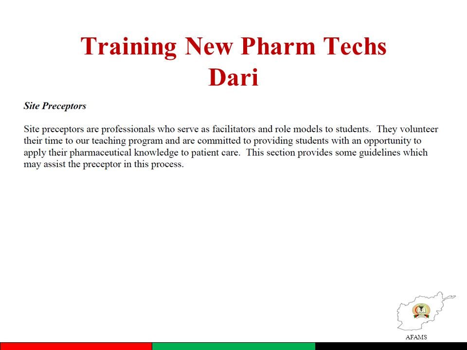 AFAMS Training New Pharm Techs Dari