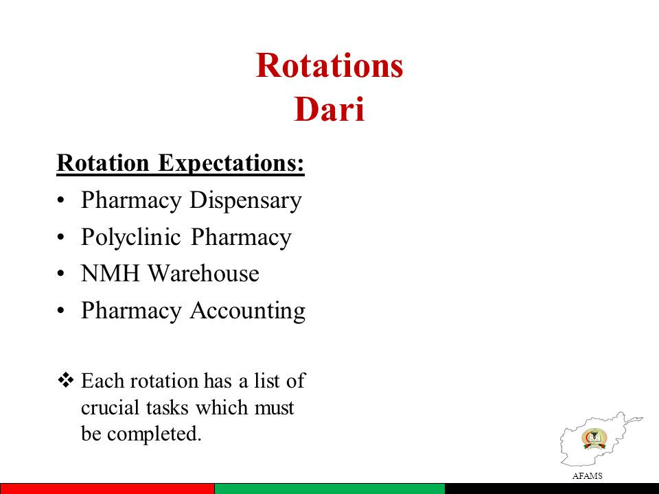 AFAMS Rotations Dari Rotation Expectations: •Pharmacy Dispensary •Polyclinic Pharmacy •NMH Warehouse •Pharmacy Accounting  Each rotation has a list of crucial tasks which must be completed.