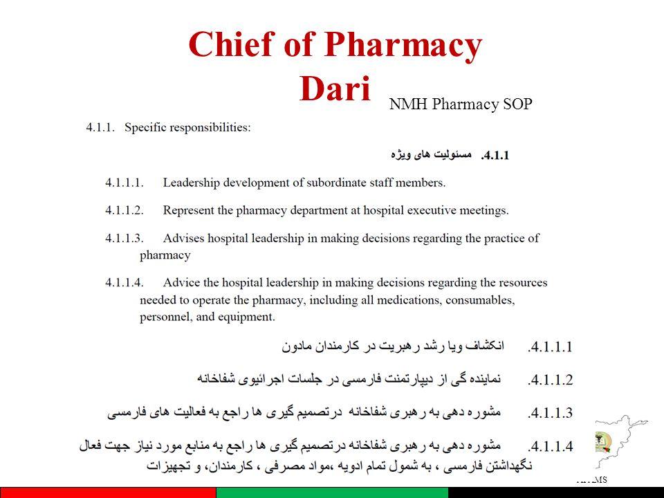 AFAMS Chief of Pharmacy Dari NMH Pharmacy SOP