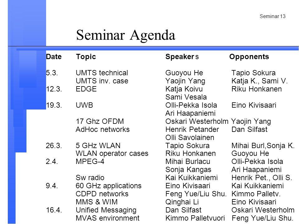 Seminar 13 Seminar Agenda DateTopicSpeakers Opponents 5.3.UMTS technicalGuoyou He Tapio Sokura UMTS inv.