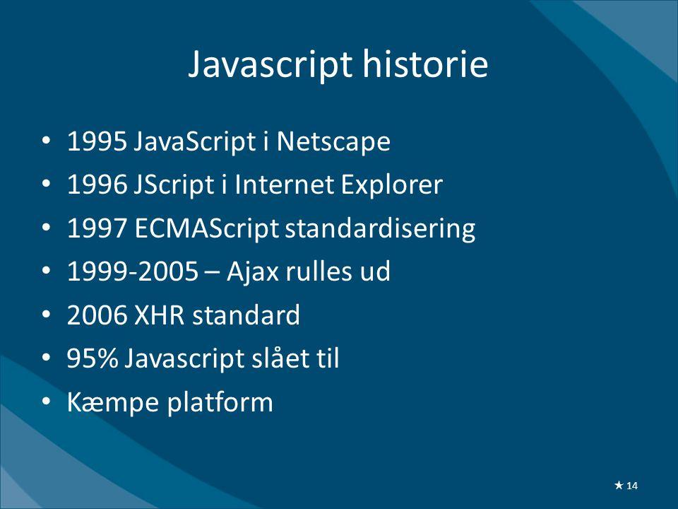 Javascript historie • 1995 JavaScript i Netscape • 1996 JScript i Internet Explorer • 1997 ECMAScript standardisering • 1999-2005 – Ajax rulles ud • 2006 XHR standard • 95% Javascript slået til • Kæmpe platform ★ 14