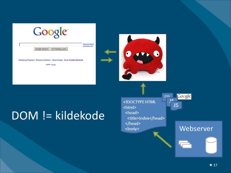 <!DOCTYPE HTML Index DOM Webserver DOM != kildekode CSS JS ★ 17