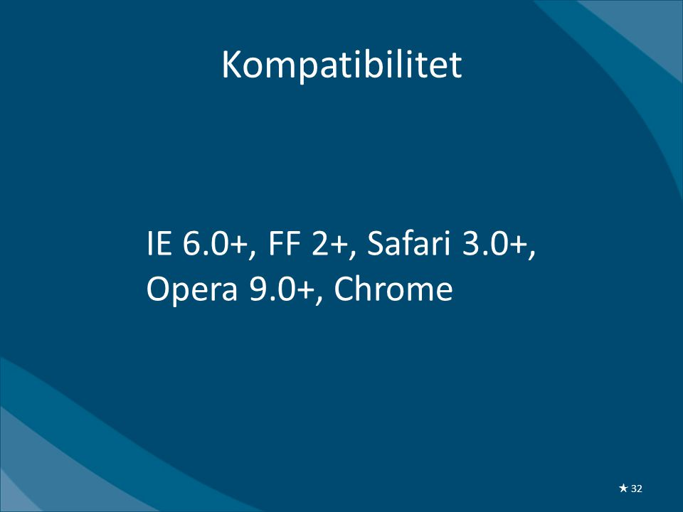 IE 6.0+, FF 2+, Safari 3.0+, Opera 9.0+, Chrome Kompatibilitet ★ 32