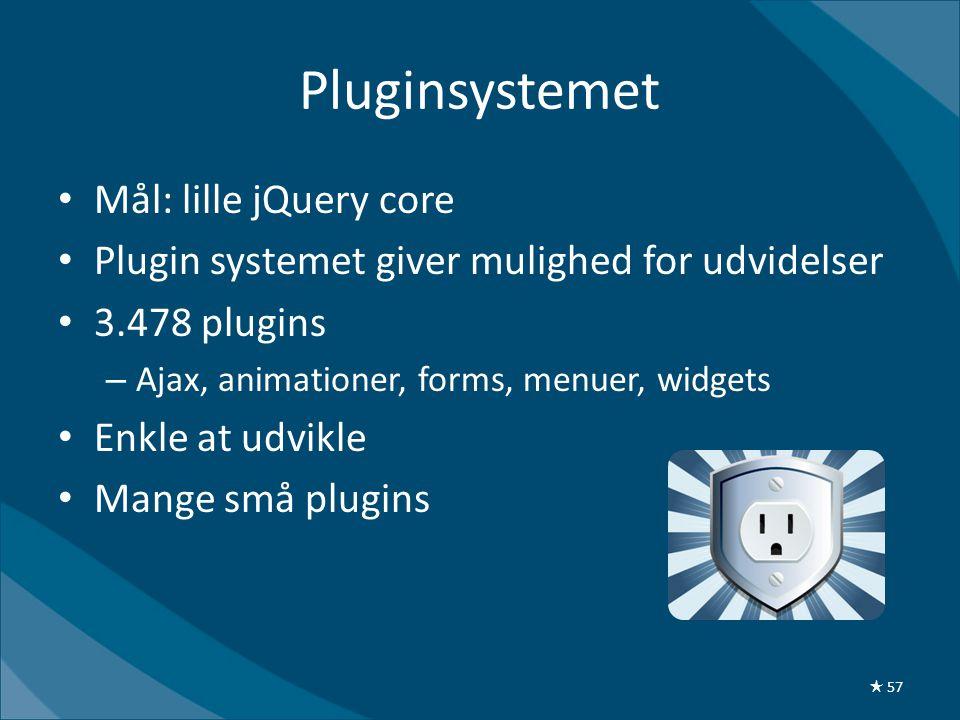 Pluginsystemet • Mål: lille jQuery core • Plugin systemet giver mulighed for udvidelser • 3.478 plugins – Ajax, animationer, forms, menuer, widgets • Enkle at udvikle • Mange små plugins ★ 57