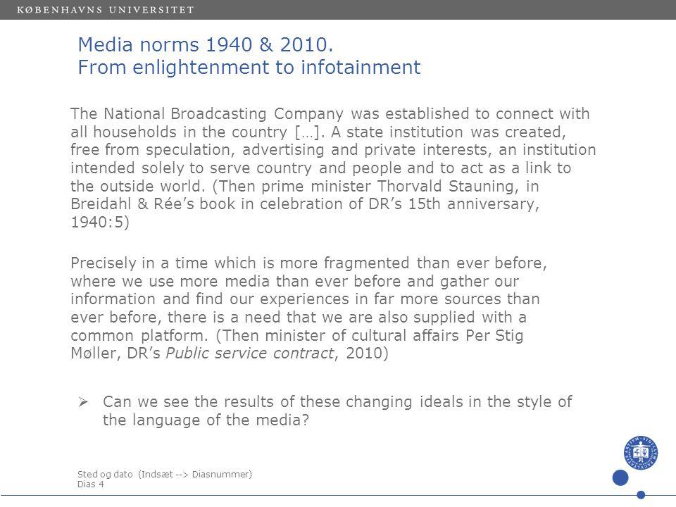 Sted og dato (Indsæt --> Diasnummer) Dias 4 Media norms 1940 & 2010.
