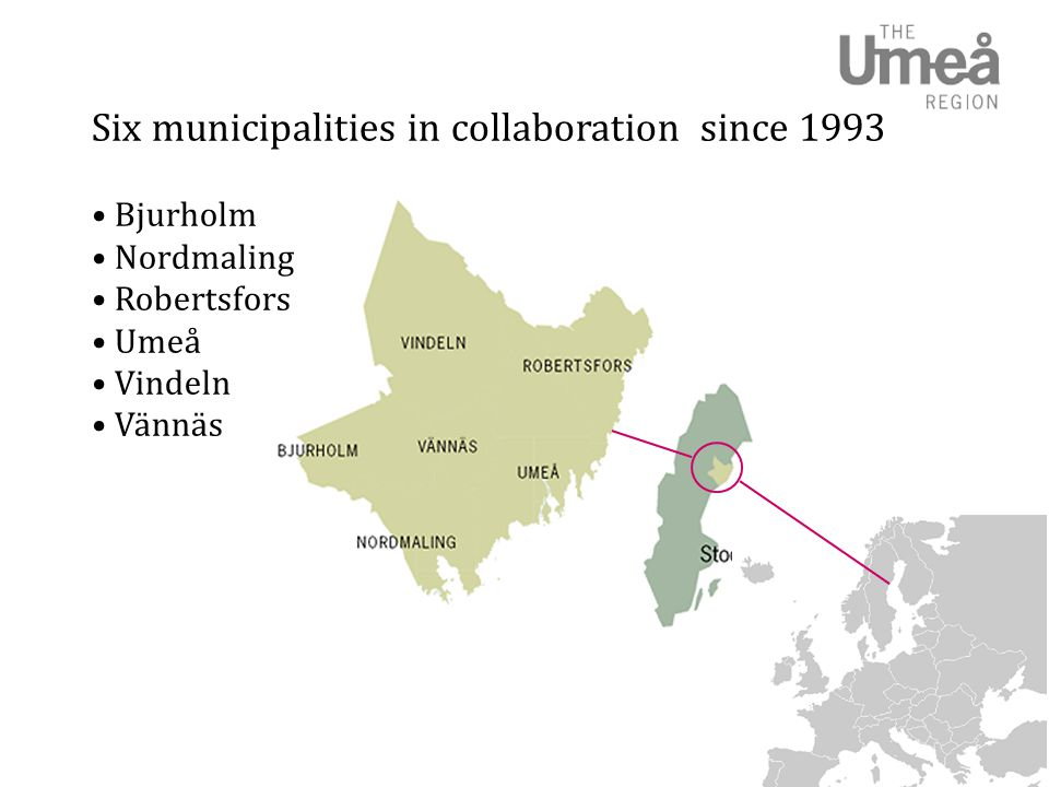 Six municipalities in collaboration since 1993 • Bjurholm • Nordmaling • Robertsfors • Umeå • Vindeln • Vännäs