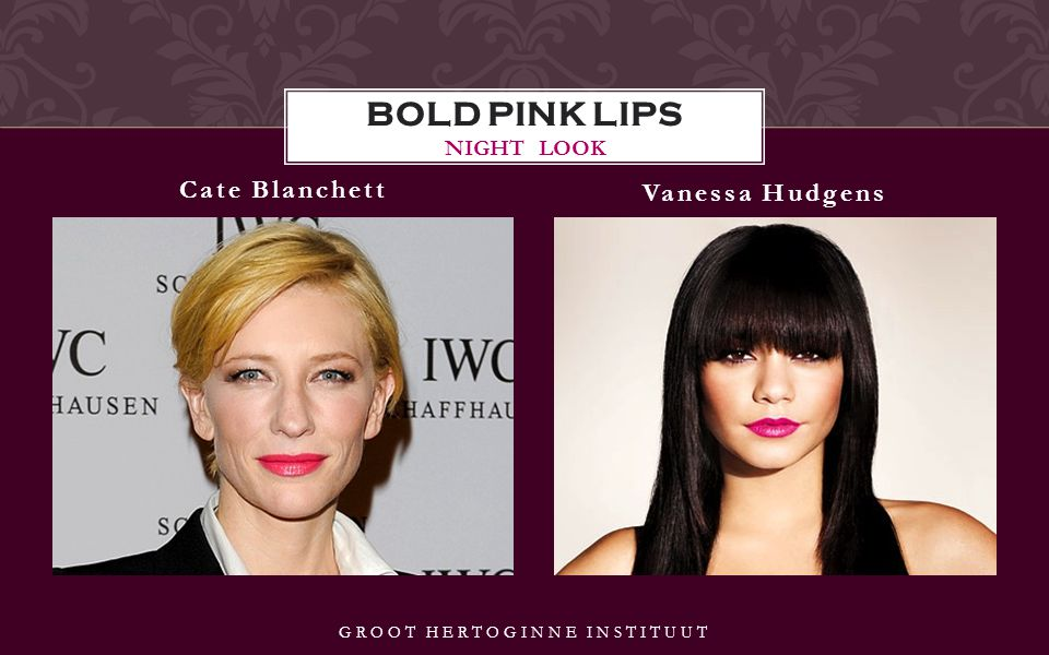 Cate Blanchett Vanessa Hudgens BOLD PINK LIPS NIGHT LOOK GROOT HERTOGINNE INSTITUUT