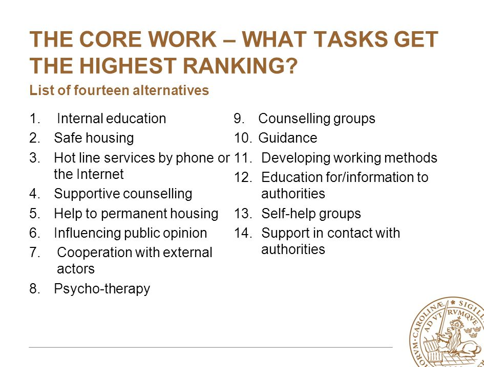 THE CORE WORK – WHAT TASKS GET THE HIGHEST RANKING? List of fourteen alternatives 1.Internal education 2.Safe housing 3.Hot line services by phone or