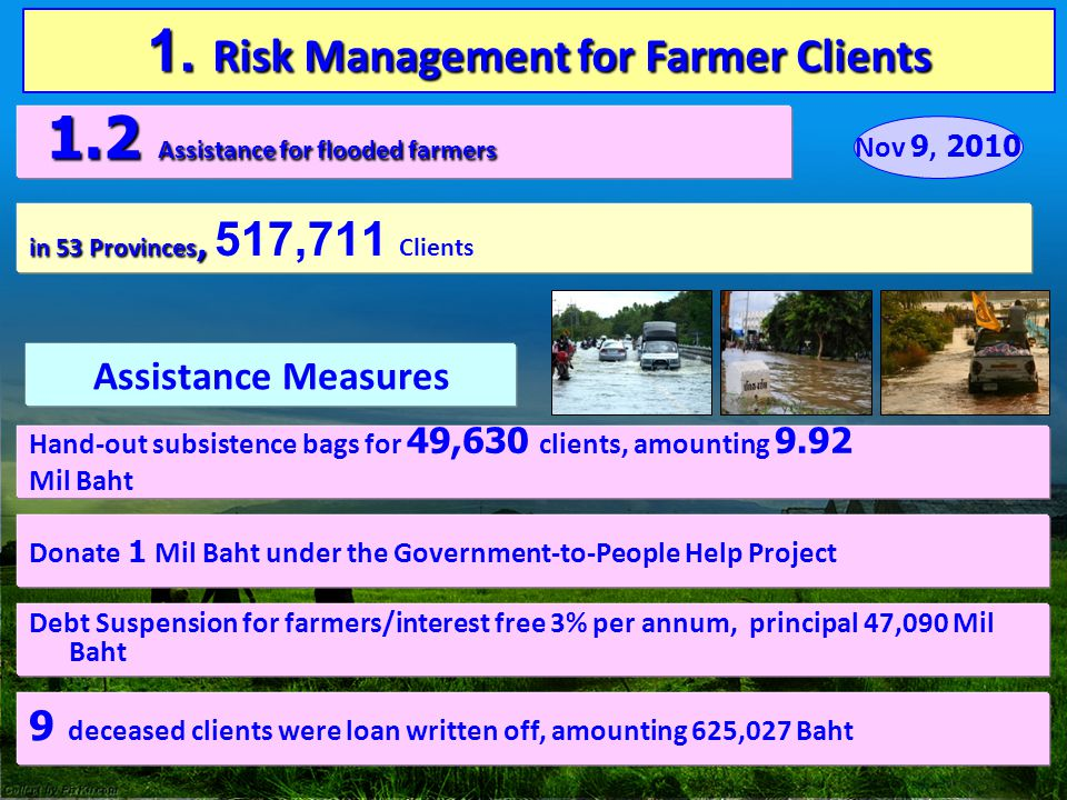 1. Risk Management for Farmer Clients 1.2 Assistance for flooded farmers 1.2 Assistance for flooded farmers in 53 Provinces, in 53 Provinces, 517,711
