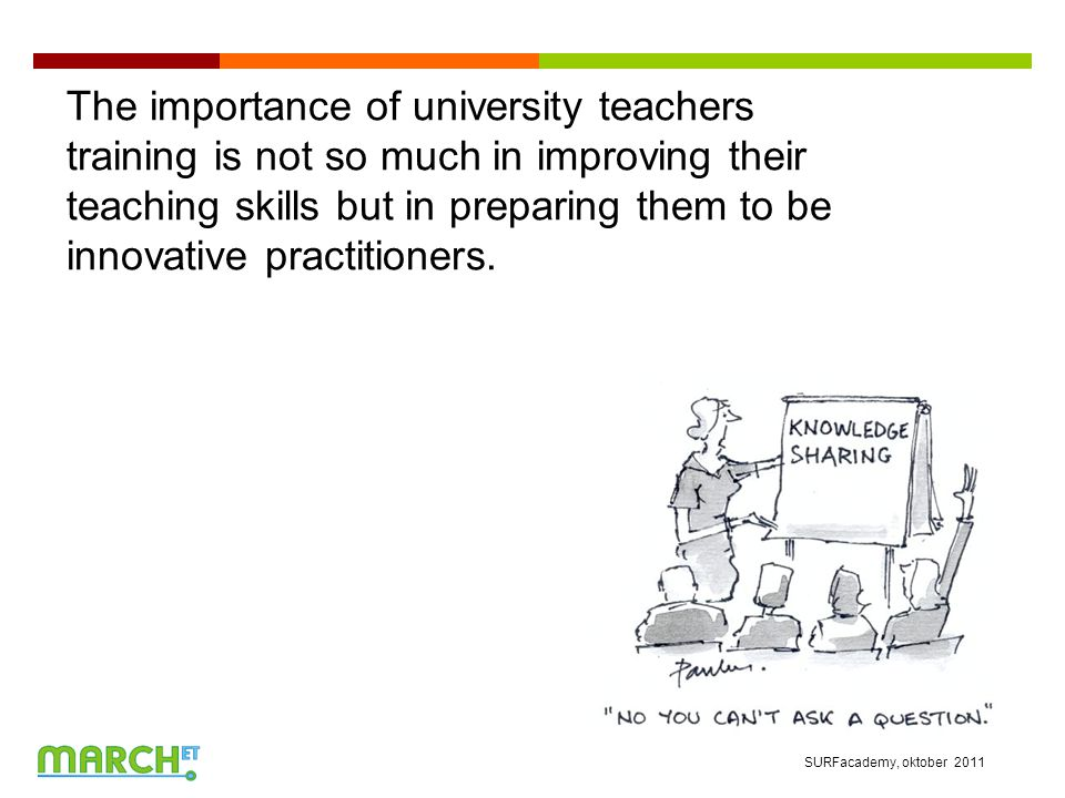 The importance of university teachers training is not so much in improving their teaching skills but in preparing them to be innovative practitioners.