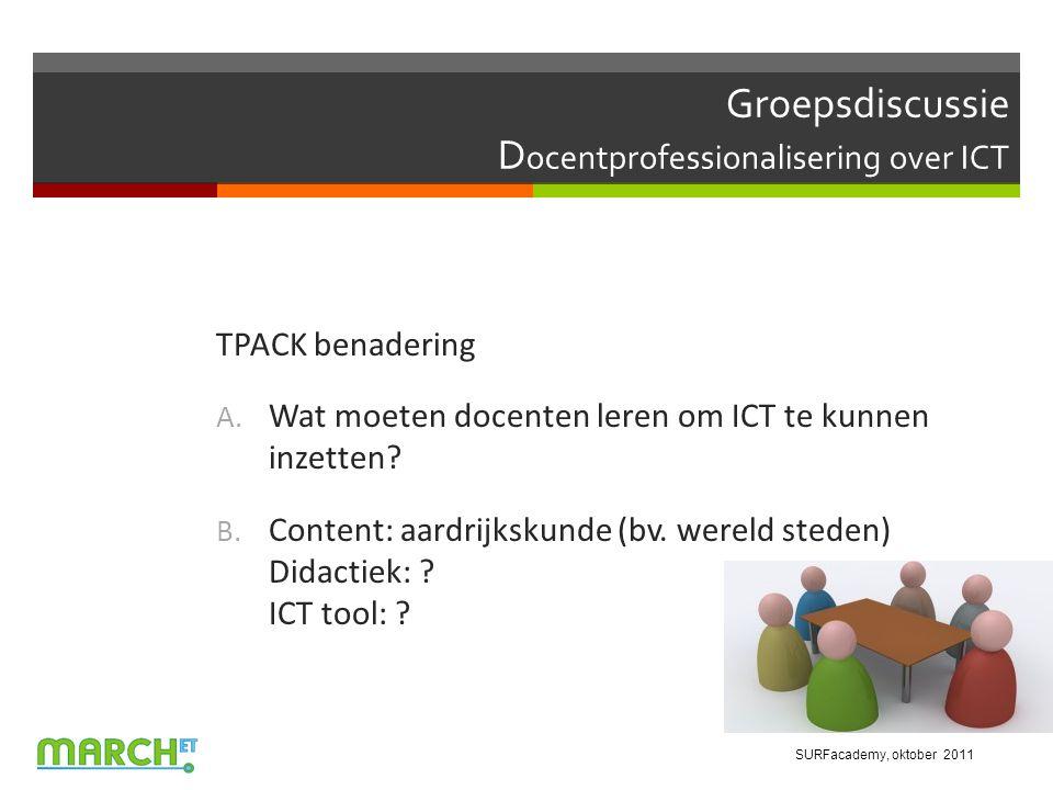 Groepsdiscussie D ocentprofessionalisering over ICT TPACK benadering A.