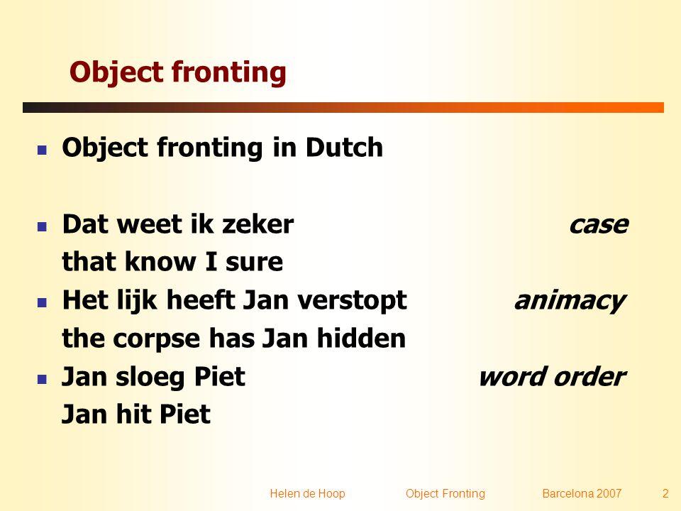Helen de Hoop Object FrontingBarcelona 2007 2 Object fronting  Object fronting in Dutch  Dat weet ik zeker case that know I sure  Het lijk heeft Ja