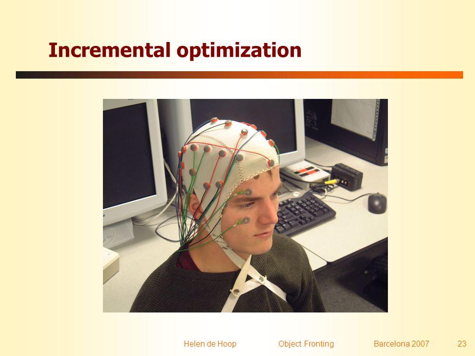 Helen de Hoop Object FrontingBarcelona 2007 23 Incremental optimization