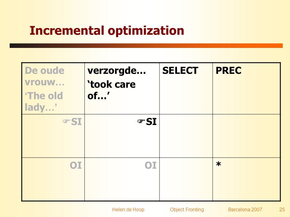 Helen de Hoop Object FrontingBarcelona 2007 25 Incremental optimization De oude vrouw … ' The old lady …' verzorgde… 'took care of…' SELECTPREC  SI OI *