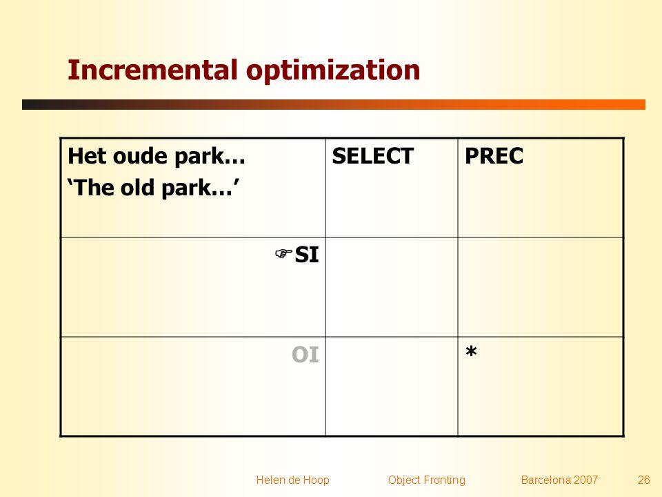 Helen de Hoop Object FrontingBarcelona 2007 26 Incremental optimization Het oude park… 'The old park…' SELECTPREC  SI OI*