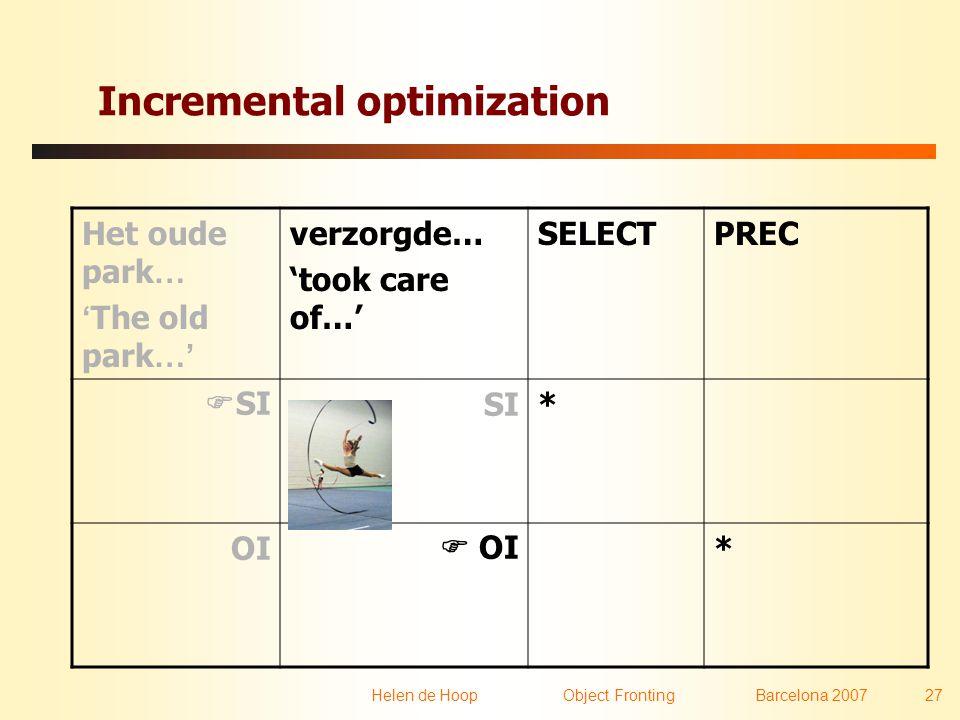 Helen de Hoop Object FrontingBarcelona 2007 27 Incremental optimization Het oude park … ' The old park …' verzorgde… 'took care of…' SELECTPREC  SISI