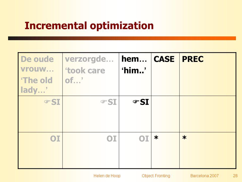 Helen de Hoop Object FrontingBarcelona 2007 28 Incremental optimization De oude vrouw … ' The old lady …' verzorgde … ' took care of …' hem … ' him..