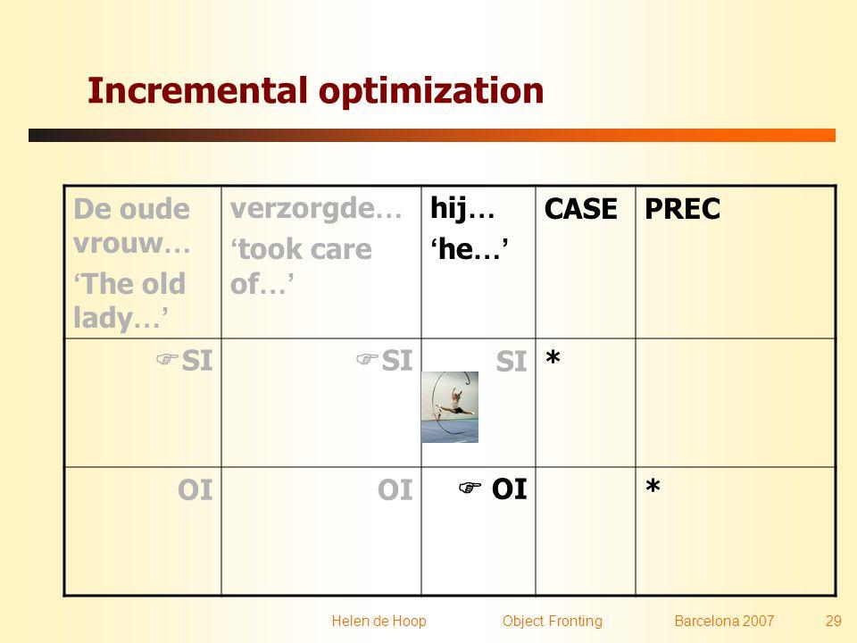 Helen de Hoop Object FrontingBarcelona 2007 29 Incremental optimization De oude vrouw … ' The old lady …' verzorgde … ' took care of …' hij … ' he …'