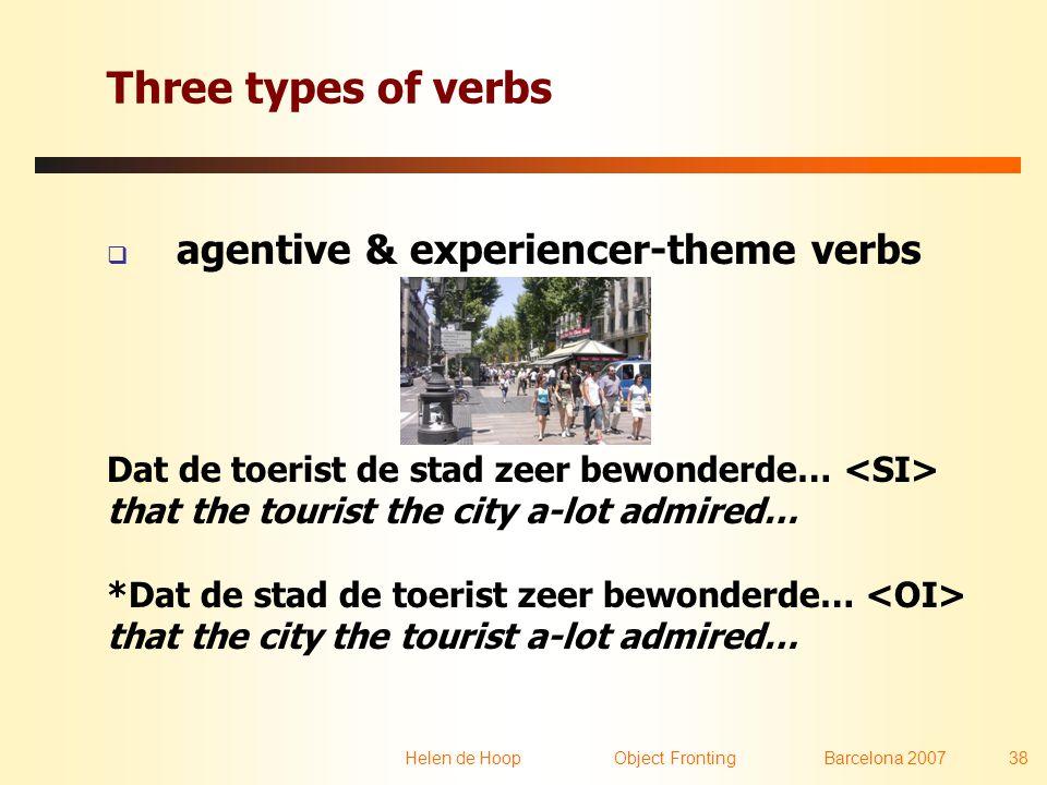 Helen de Hoop Object FrontingBarcelona 2007 38 Three types of verbs  agentive & experiencer-theme verbs Dat de toerist de stad zeer bewonderde… that