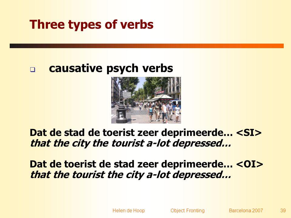 Helen de Hoop Object FrontingBarcelona 2007 39 Three types of verbs  causative psych verbs Dat de stad de toerist zeer deprimeerde… that the city the