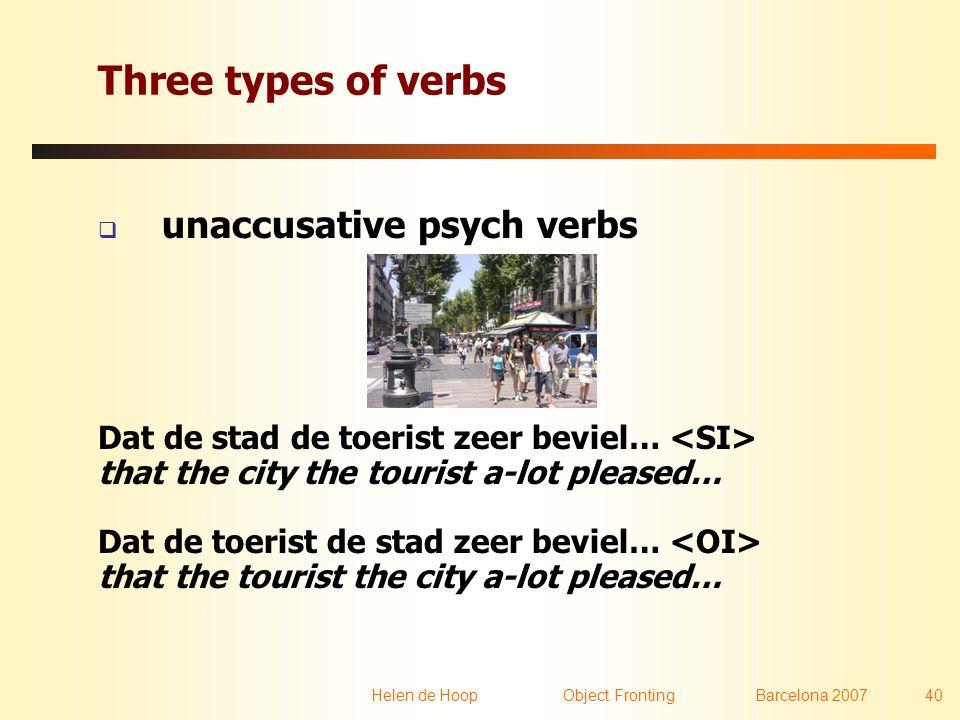 Helen de Hoop Object FrontingBarcelona 2007 40 Three types of verbs  unaccusative psych verbs Dat de stad de toerist zeer beviel… that the city the t