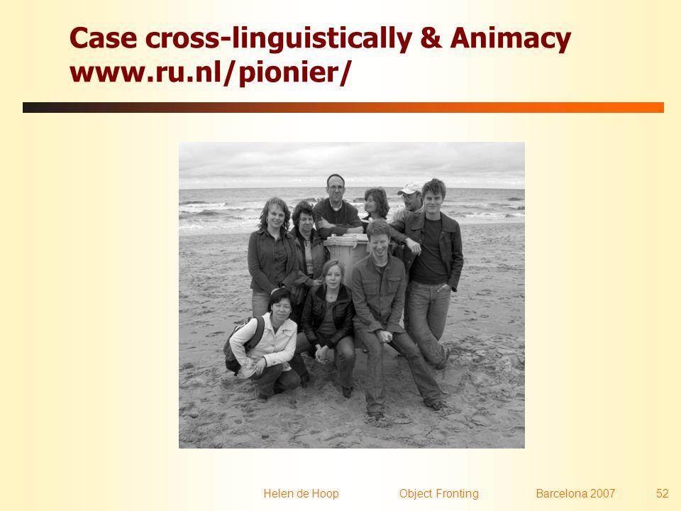 Helen de Hoop Object FrontingBarcelona 2007 52 Case cross-linguistically & Animacy www.ru.nl/pionier/