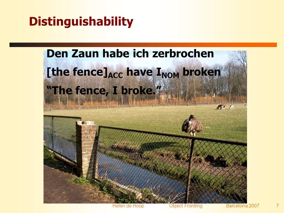 Helen de Hoop Object FrontingBarcelona 2007 7 Distinguishability Den Zaun habe ich zerbrochen [the fence] ACC have I NOM broken The fence, I broke.