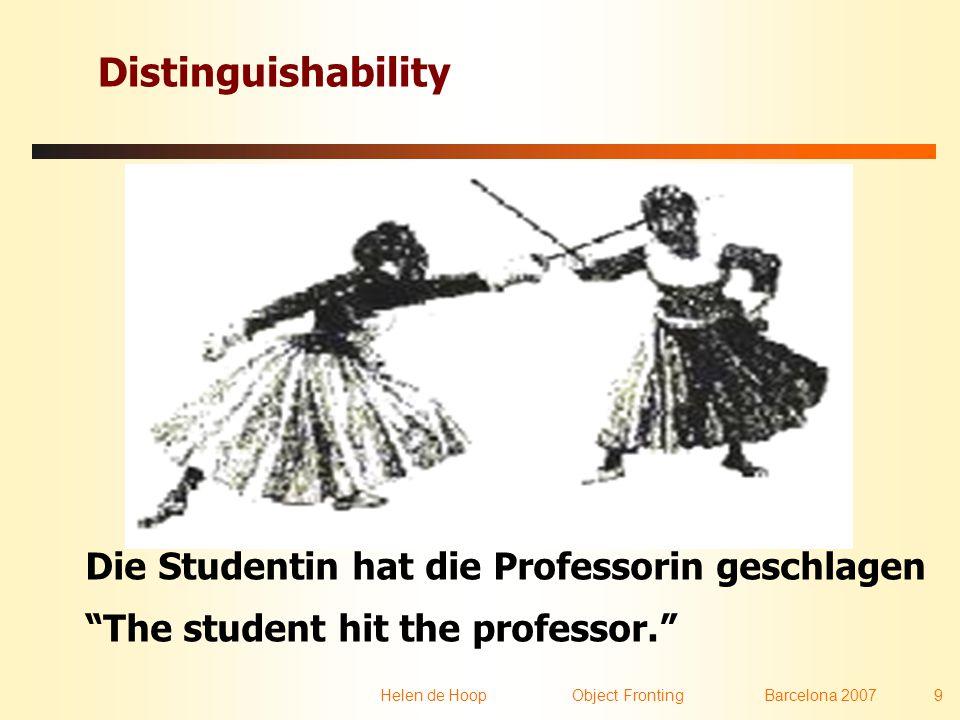 Helen de Hoop Object FrontingBarcelona 2007 9 Distinguishability Die Studentin hat die Professorin geschlagen The student hit the professor.