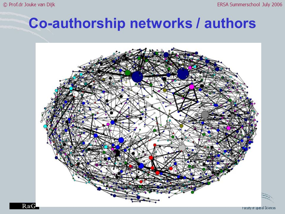 © Prof.dr Jouke van DijkERSA Summerschool July 2006 Co-authorship networks / authors