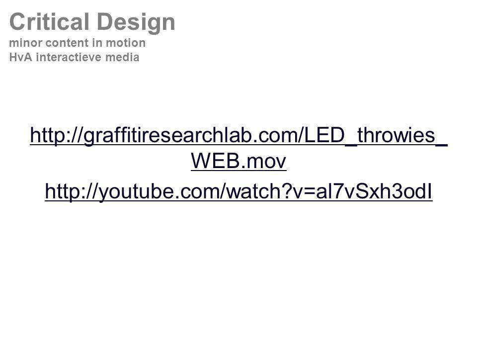 http://graffitiresearchlab.com/LED_throwies_ WEB.mov http://youtube.com/watch?v=al7vSxh3odI Critical Design minor content in motion HvA interactieve media