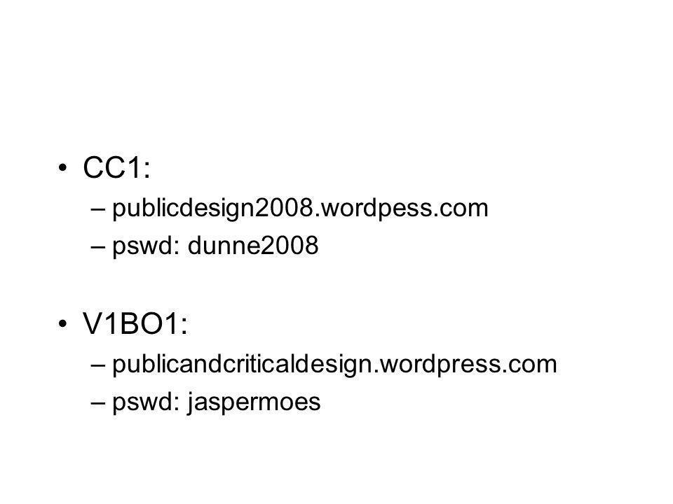 •CC1: –publicdesign2008.wordpess.com –pswd: dunne2008 •V1BO1: –publicandcriticaldesign.wordpress.com –pswd: jaspermoes