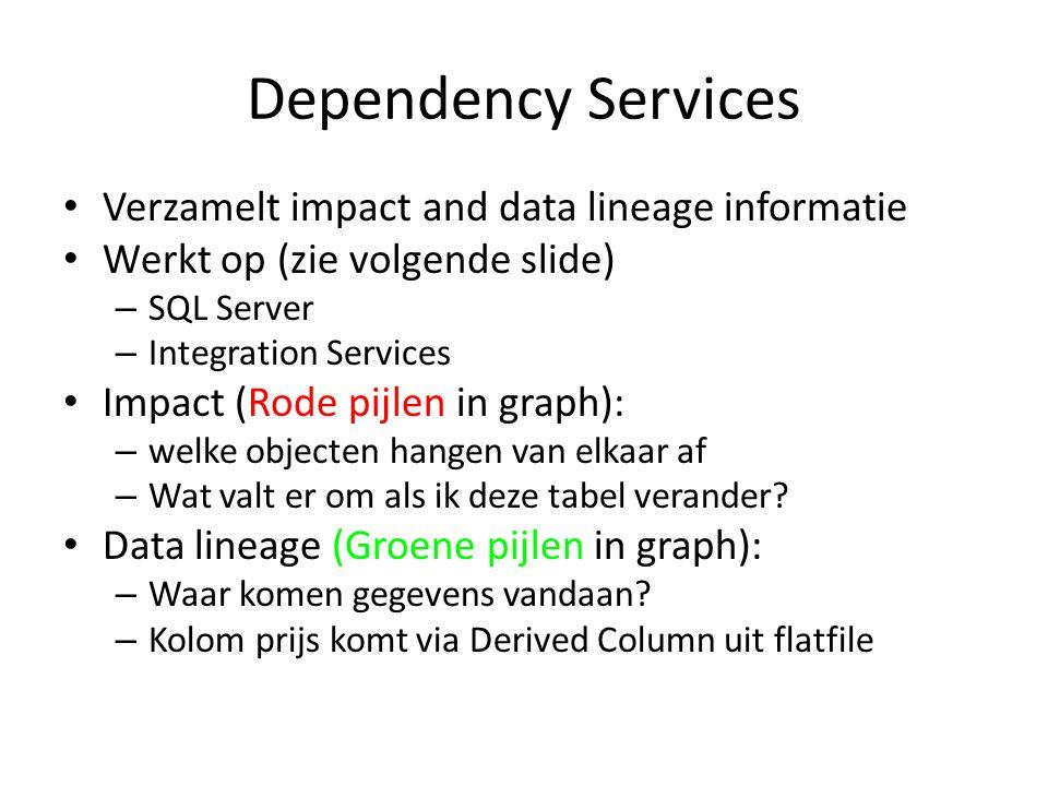 Dependency Services • Verzamelt impact and data lineage informatie • Werkt op (zie volgende slide) – SQL Server – Integration Services • Impact (Rode
