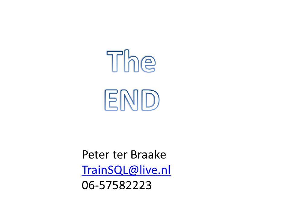 Peter ter Braake TrainSQL@live.nl 06-57582223