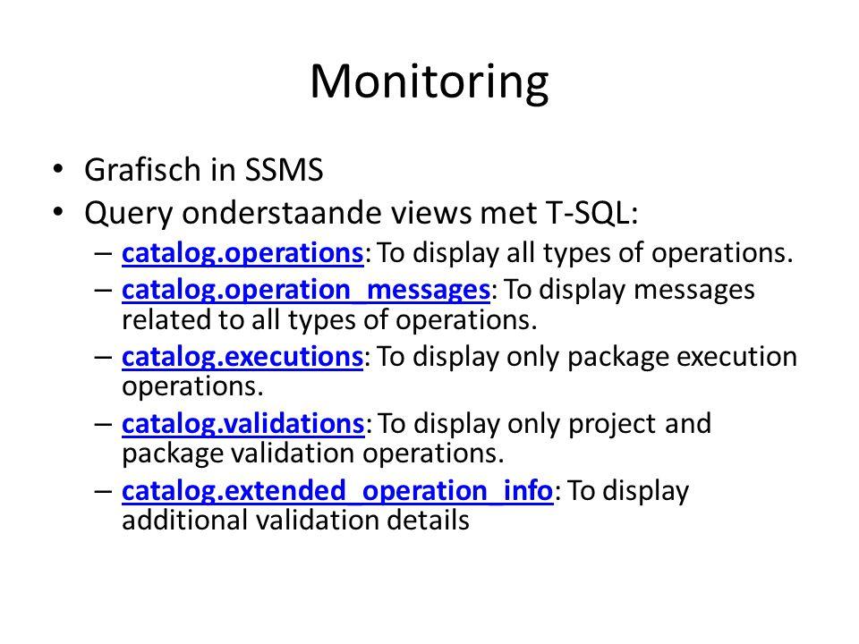 Monitoring • Grafisch in SSMS • Query onderstaande views met T-SQL: – catalog.operations: To display all types of operations. catalog.operations – cat