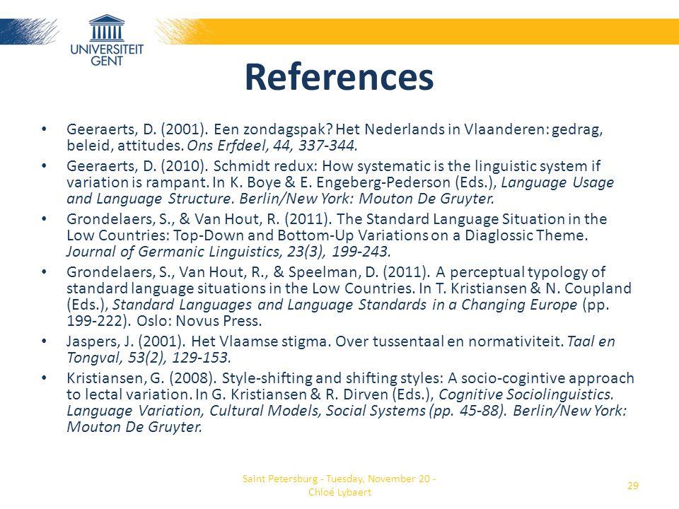 References • Geeraerts, D. (2001). Een zondagspak? Het Nederlands in Vlaanderen: gedrag, beleid, attitudes. Ons Erfdeel, 44, 337-344. • Geeraerts, D.