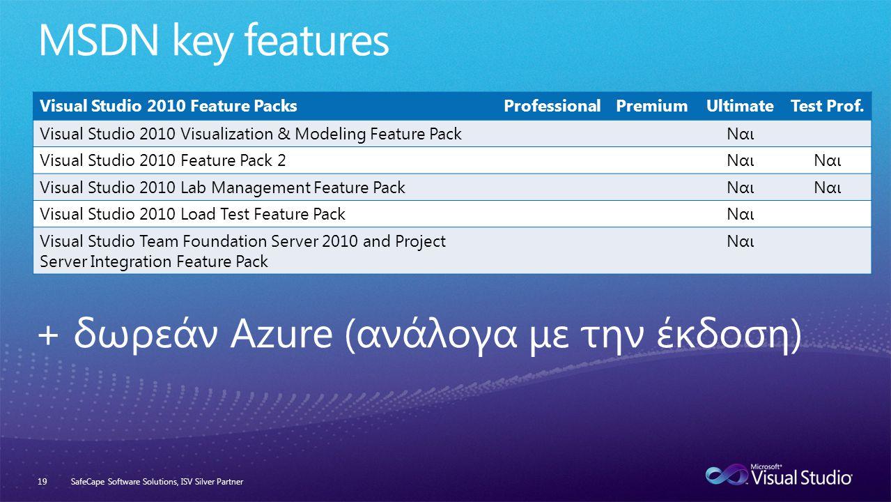 SafeCape Software Solutions, ISV Silver Partner19 Visual Studio 2010 Feature PacksProfessionalPremiumUltimateTest Prof.