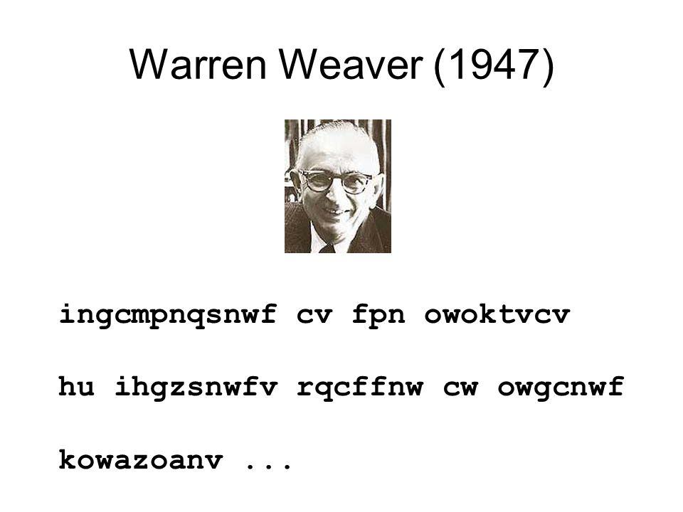 Warren Weaver (1947) ingcmpnqsnwf cv fpn owoktvcv hu ihgzsnwfv rqcffnw cw owgcnwf kowazoanv...
