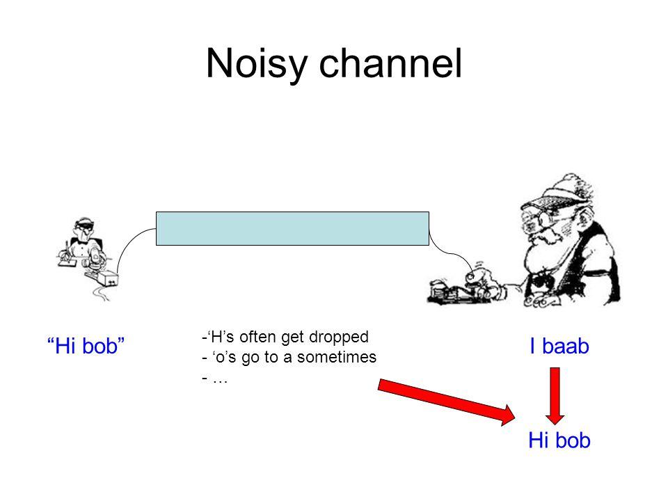 Noisy channel Hi bob I baab -'H's often get dropped - 'o's go to a sometimes - … Hi bob