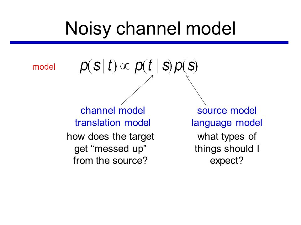 Noisy channel model model channel model translation model source model language model how does the target get messed up from the source.